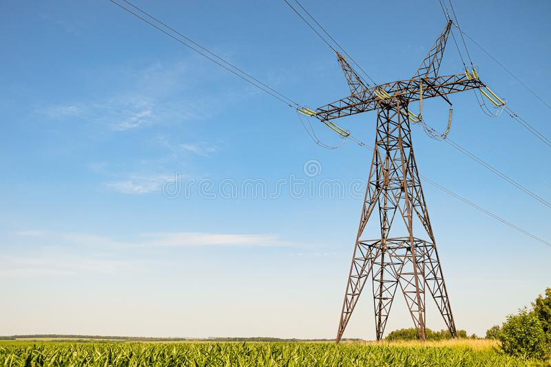 Power Transmission Tower. Air hi-voltage electric line supports. royalty free stock photo