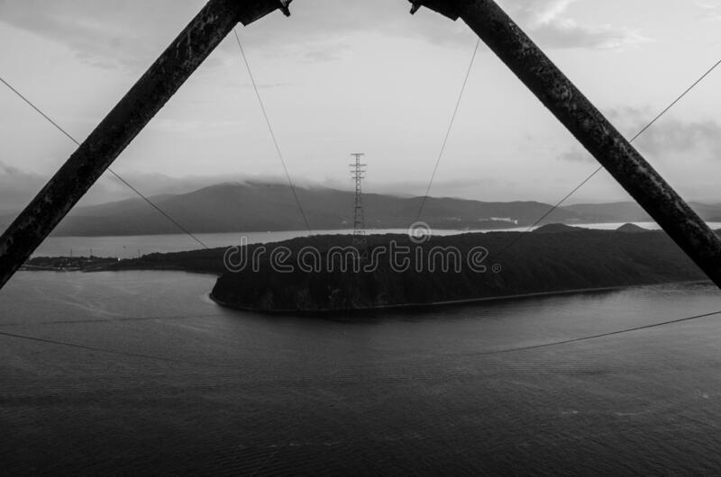 Power transmission tower 150m, Vladivostok. High power transmission tower 150m, Vladivostok, Russia, Eastern Bosphorus Strait stock photography