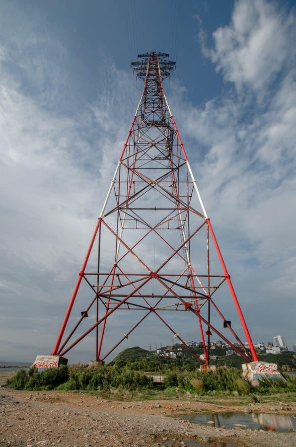 Power transmission tower 150m, Vladivostok. High power transmission tower 150m, Vladivostok, Russia, Eastern Bosphorus Strait royalty free stock photography