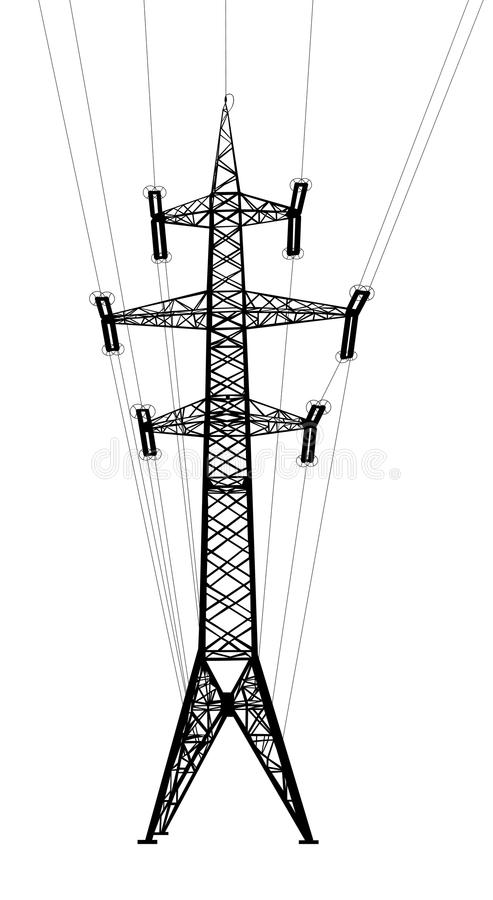 Download Power Transmission Tower With Wires. Stock Vector - Image: 34970821