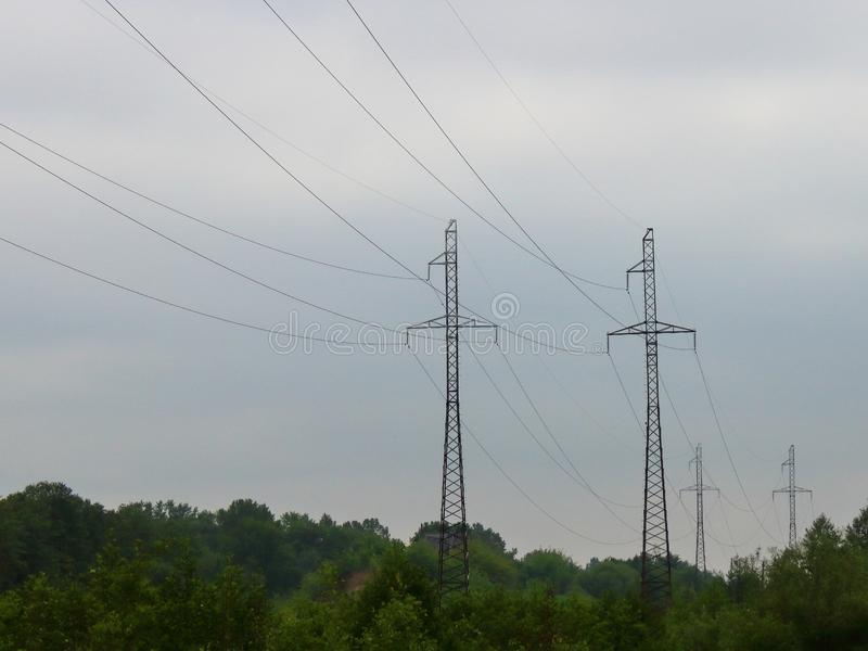Power transmissions go stock photo