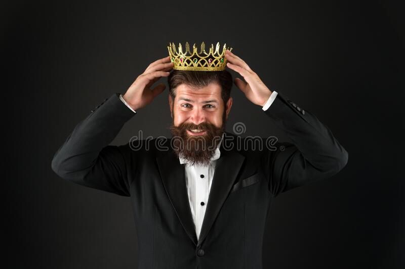 Power and triumph. Business king. Businessman wear crown. Business success concept. Glory seeking man. King of style. Best man on Earth. Achieving business stock images