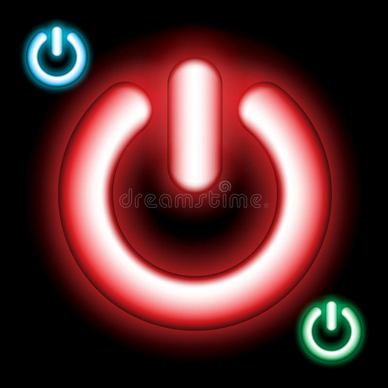 Power on vector button set - Glowing stock illustration
