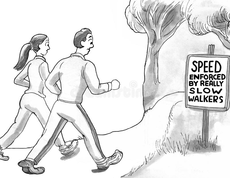 Power Walkers. Cartoon about power walkers exercising royalty free stock image