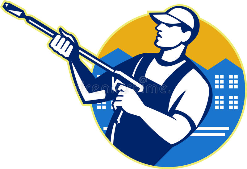 Power Washing Pressure Water Blaster Worker vector illustration
