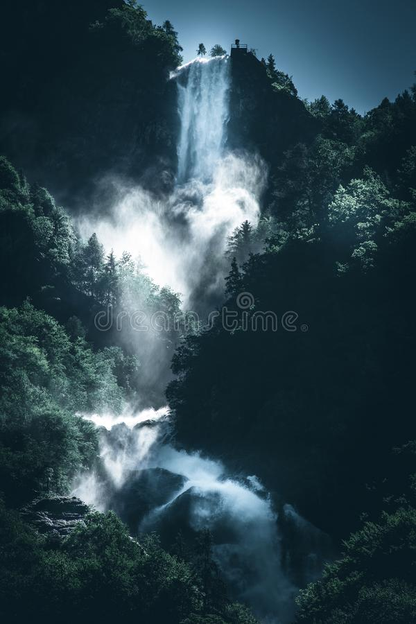 Power of a waterfall water dark mood style image royalty free stock photos