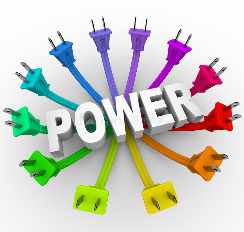 Download Power - Word Surrounded By Plugs Stock Illustration - Image: 13663506