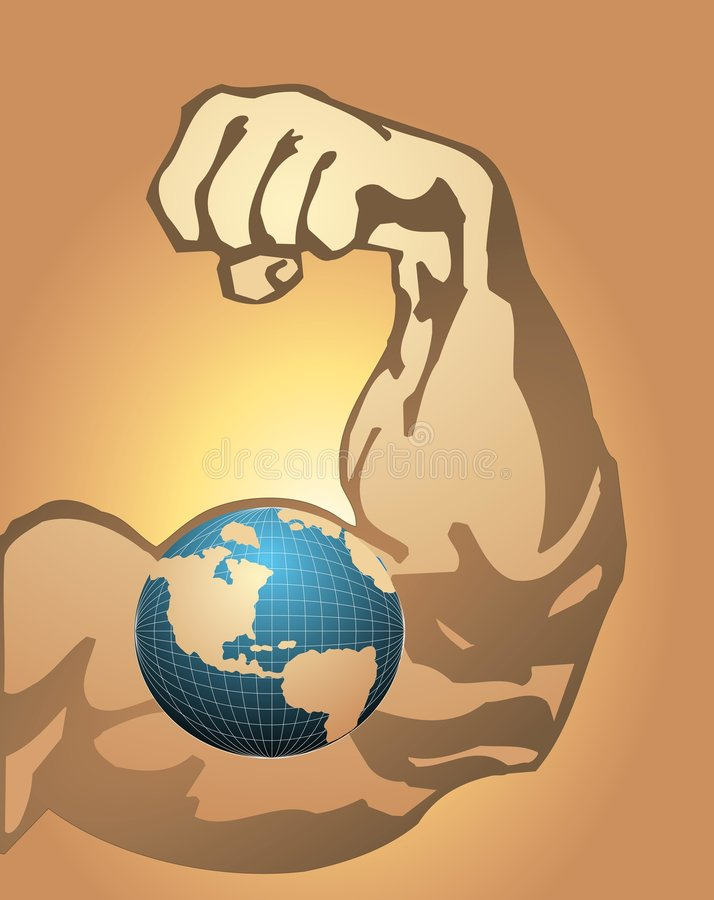 Power World. A muscled arm with a globe symbol on it symbolizing power struggles royalty free illustration
