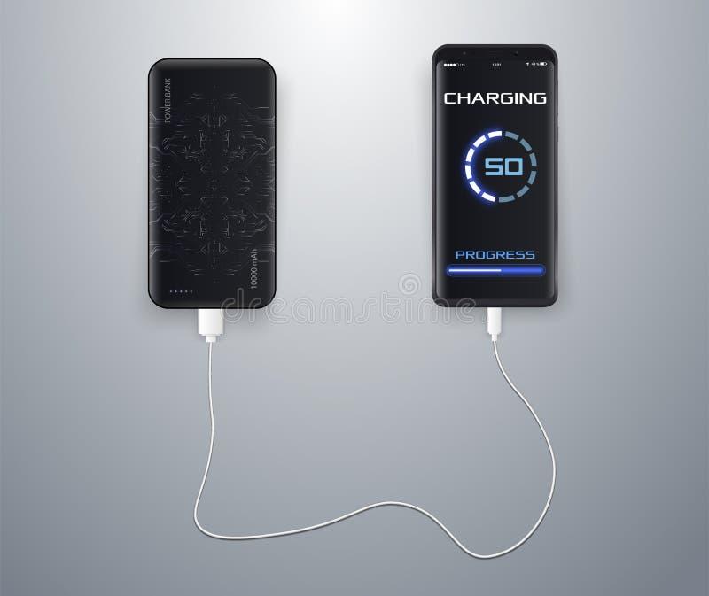 Powerbank che fa pagare uno smartphone nero sul fondo bianco illustrazione di stock