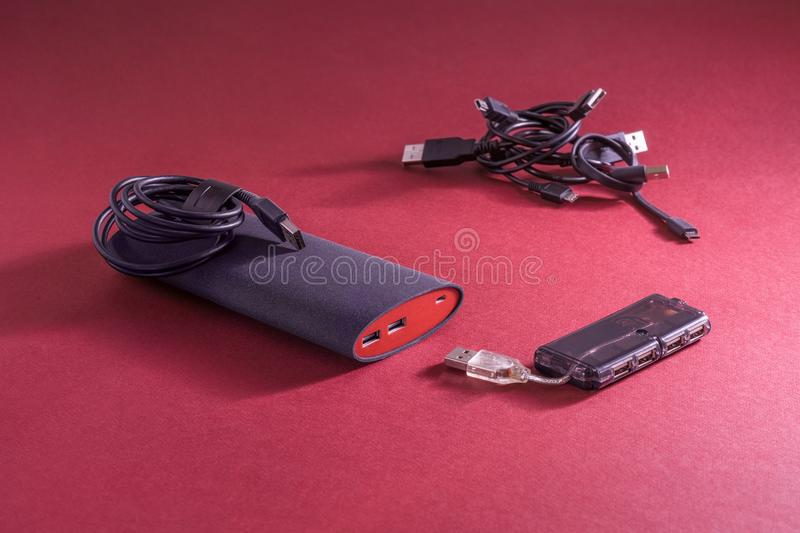 Powerbank on red background royalty free stock photos