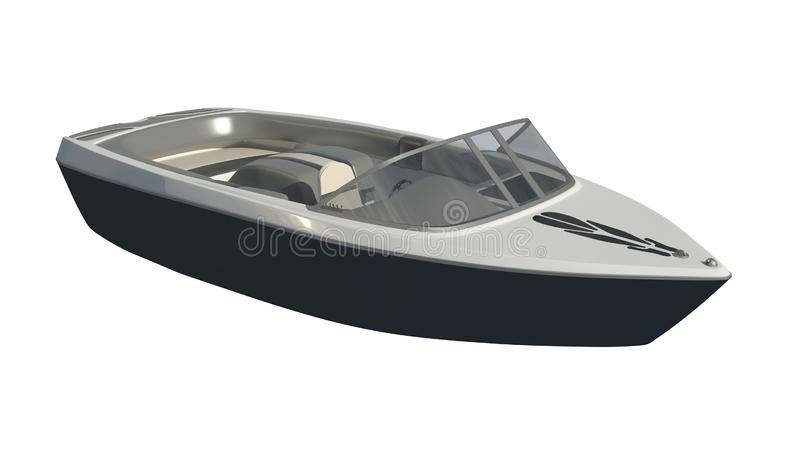 Powerboat изолированный на белой иллюстрации предпосылки 3d иллюстрация штока