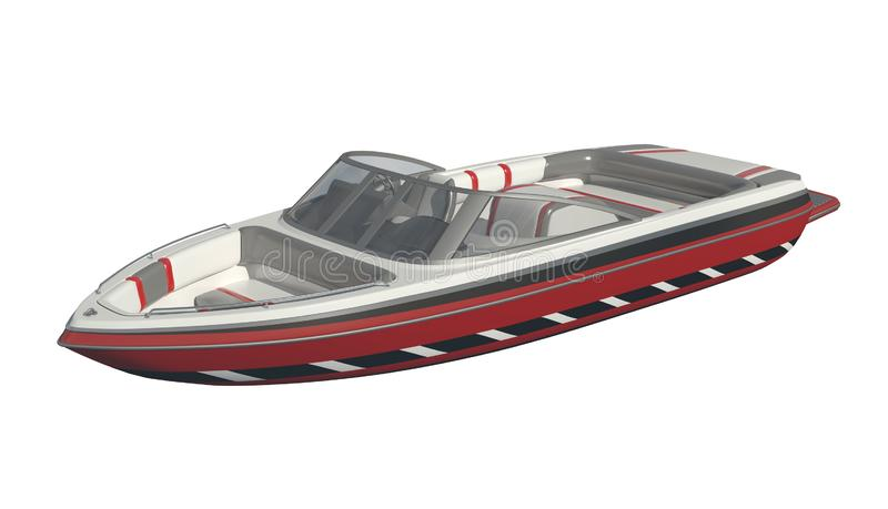 Powerboat изолированный на белой иллюстрации предпосылки 3d иллюстрация вектора