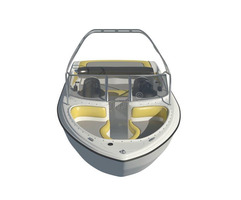 Powerboat isolado na ilustração branca do fundo 3d ilustração royalty free