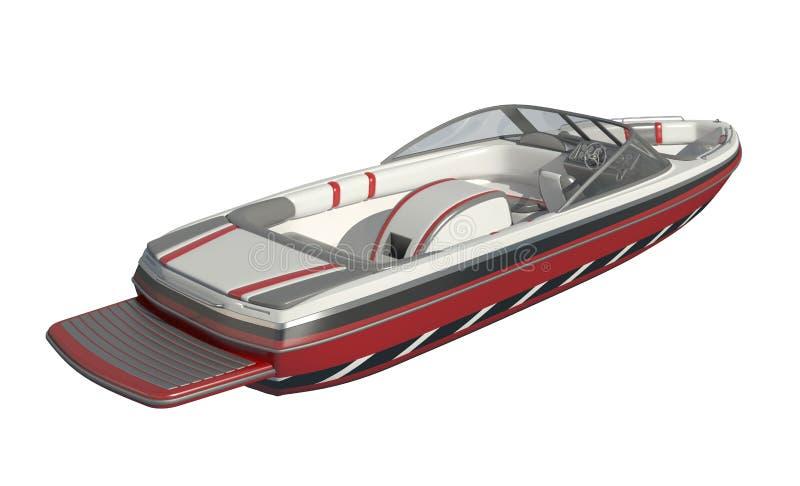 Powerboat isolado na ilustração branca do fundo 3d ilustração stock