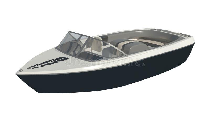 Powerboat isolado na ilustração branca do fundo 3d ilustração do vetor