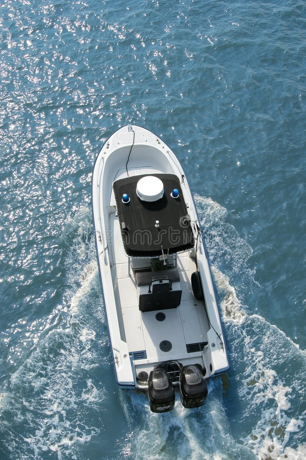 Powerboat overhead view stock image
