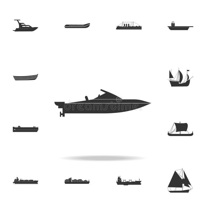 Powerboatsymbol Detaljerad uppsättning av vattentransportsymboler Högvärdig grafisk design En av samlingssymbolerna för websites, stock illustrationer