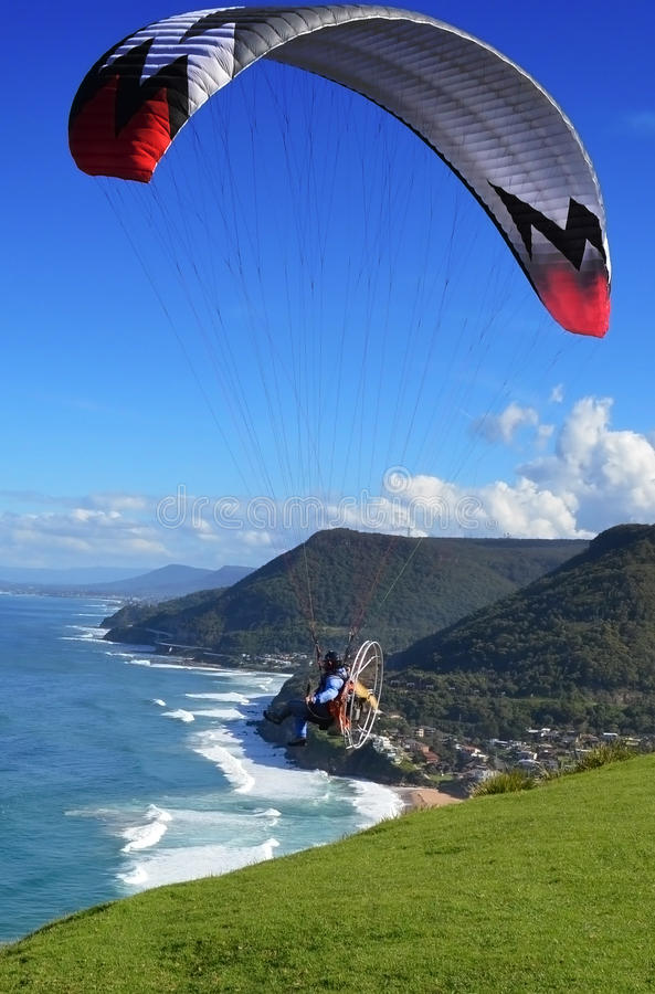Powered Paraglider Takeoff stock images