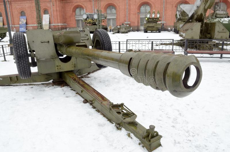 Powerful artillery gun. An artillery gun is striking in its strength and power,like weapons royalty free stock photos