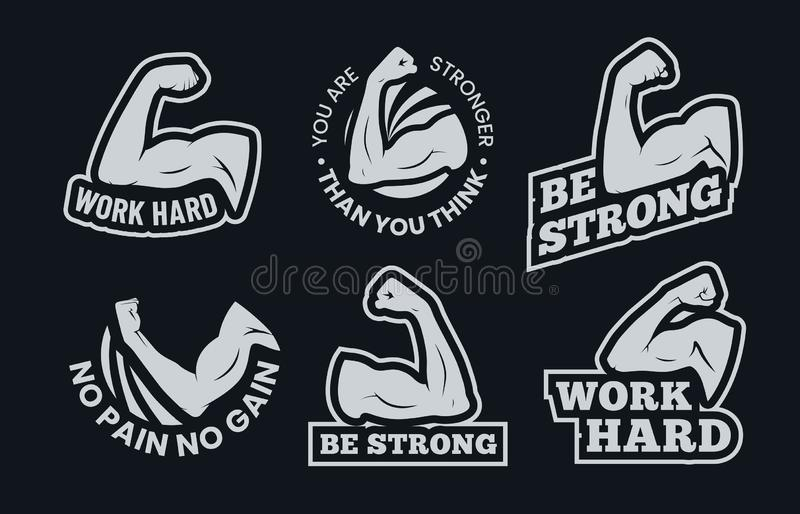 Powerful biceps muscle inspirational quotes. Be strong, work hard arm muscles and power gym. Bodybuilding and fitness. Signs, athletic exercise badge or stock illustration