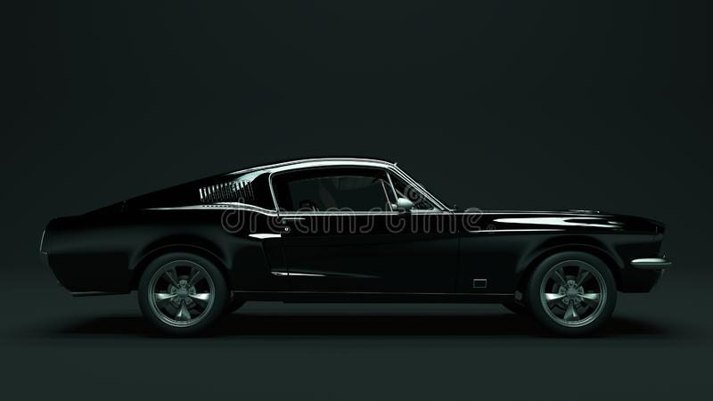 Powerful Black Muscle Car royalty free illustration