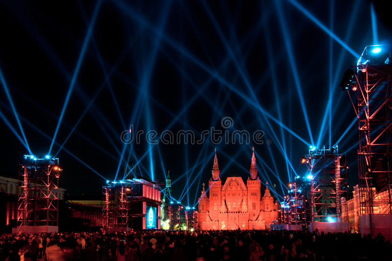 Powerful Blue Lights Over Red Square in Red royalty free stock photo