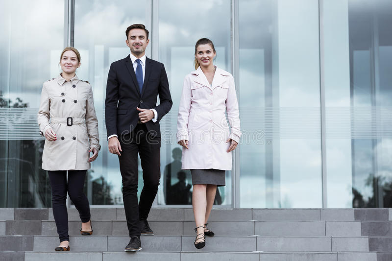 Powerful business team. Going for important meeting stock images