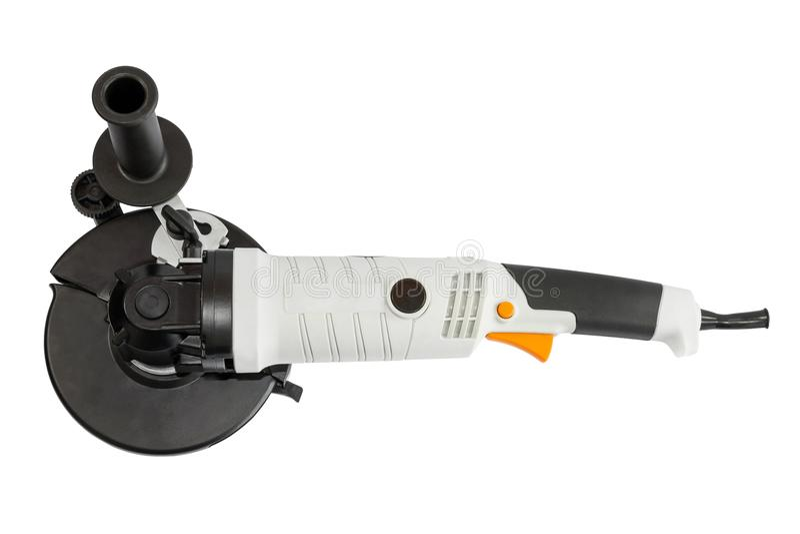 Powerful circular saw. White powerful circular saw on white background stock photo