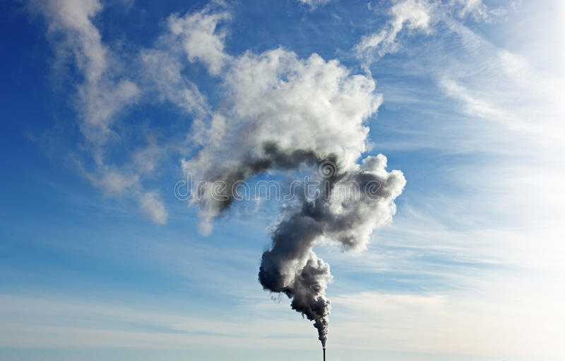 Powerful cloud of steam coming out of the pipe in the question mark shape royalty free stock photos