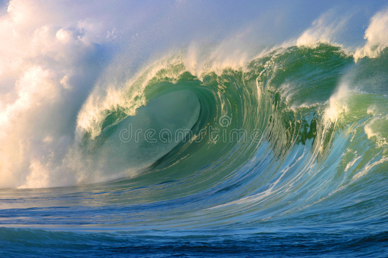 Powerful Crashing Surfing Wave Waimea Bay Hawaii royalty free stock photos