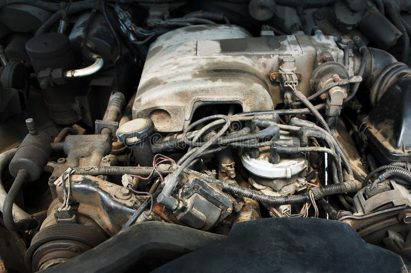 Powerful and dusty engine stock photography