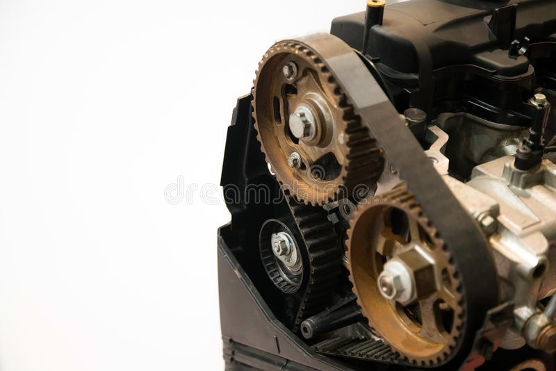 The powerful engine of a car. Internal design of engine. Car engine part royalty free stock photos