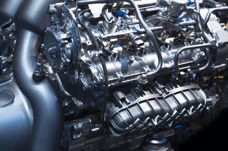 Powerful engine of a modern sport car royalty free stock image