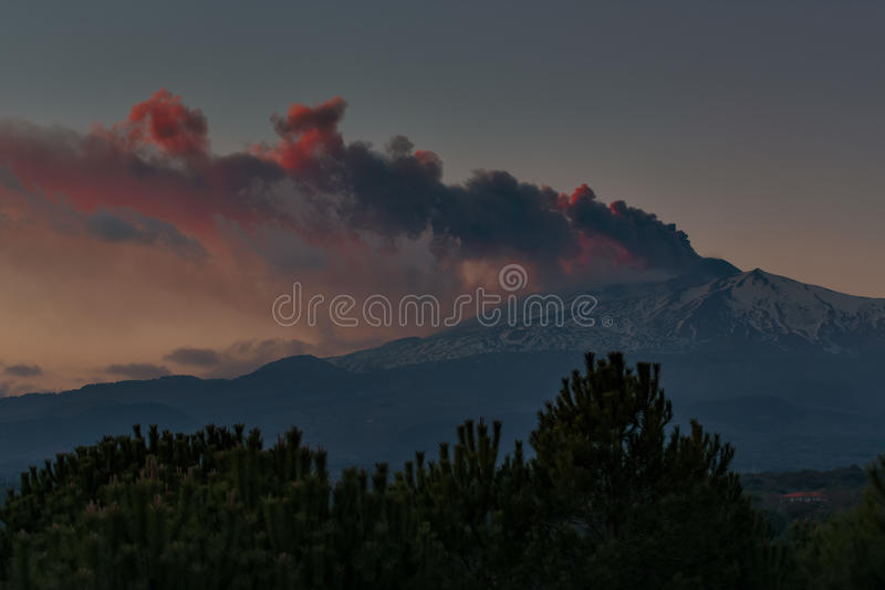 Powerful eruption of Mount Etna in Sicily, Italy stock images