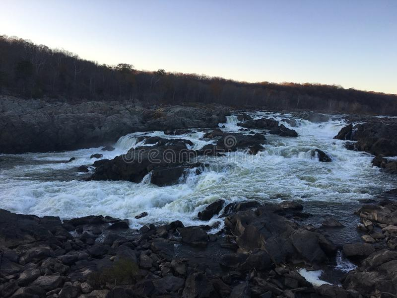 The powerful Great Falls at dusk royalty free stock photography