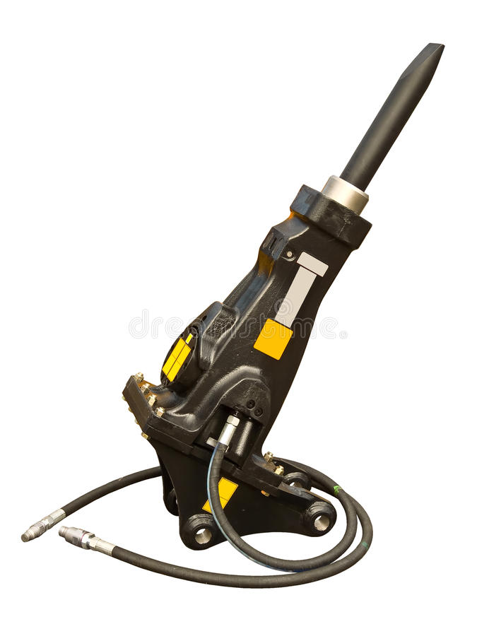 Powerful hydraulic hammer stock images