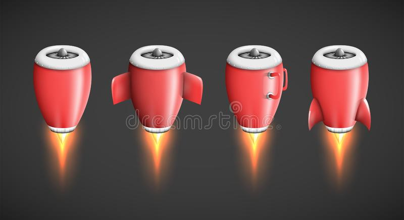 Powerful jet engine turbine as isolated plane part, rocket booster or thruster. Illustration in cartoon style, product advertisement design element a metaphor stock illustration