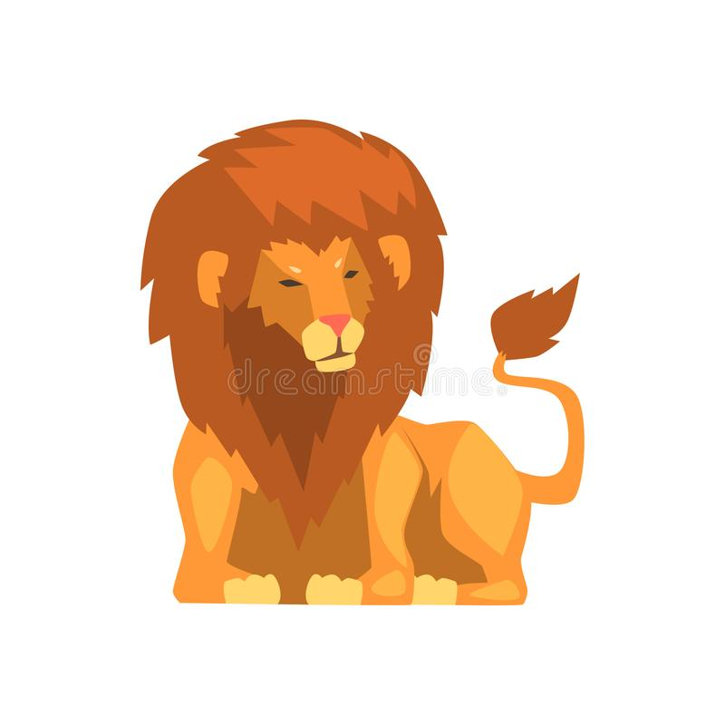 Powerful lion lying, wild predatory animal vector Illustration on a white background. Powerful lion lying, wild predatory animal vector Illustration isolated on stock illustration