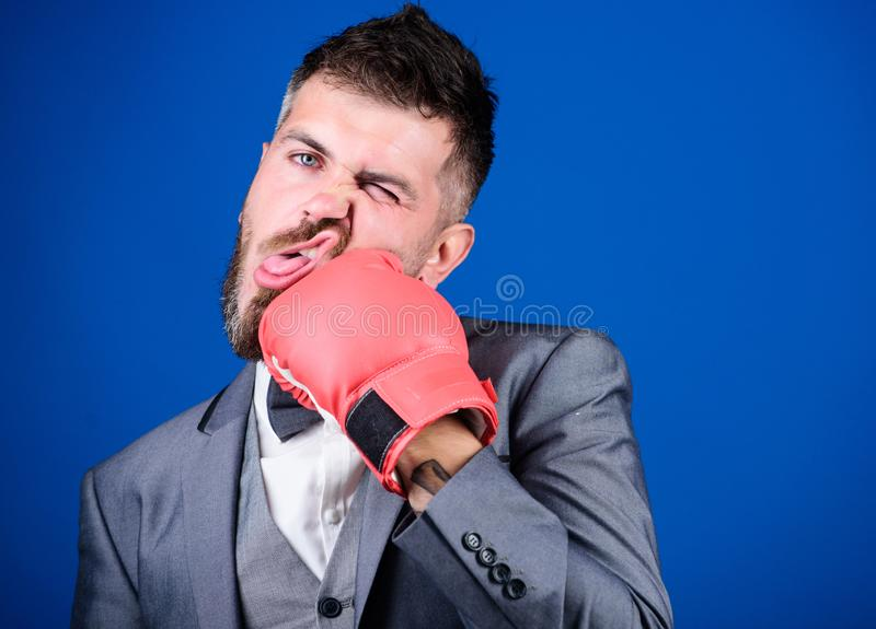 Powerful man boxer ready for corporate battle. knockout and energy. Fight. Business and sport success. businessman in. Formal suit and bow tie. bearded man in royalty free stock photos