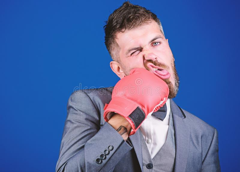 Powerful man boxer ready for corporate battle. knockout and energy. Fight. Business and sport success. businessman in. Formal suit and bow tie. bearded man in royalty free stock photo