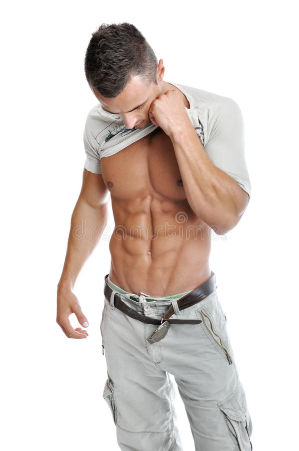 Powerful Muscular Man Posing Royalty Free Stock Photography