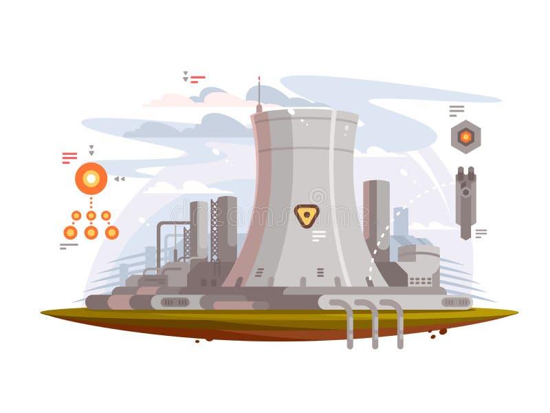 Powerful nuclear reactor stock illustration