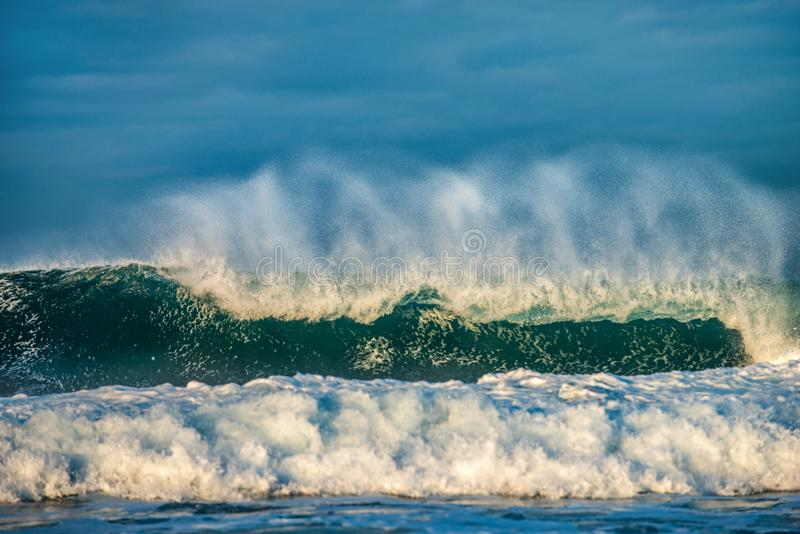 Ocean waves. Stormy weather, clouds sky background. Seascape. stock images