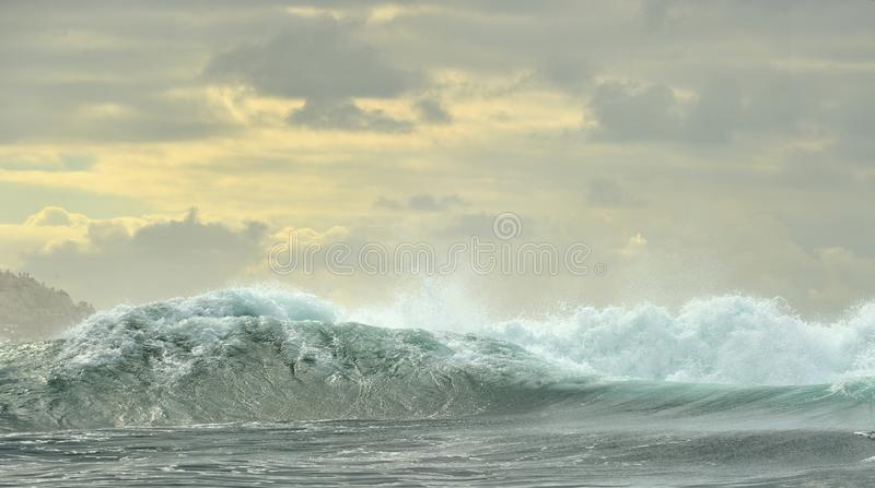 Powerful ocean waves breaking. Wave on the surface of the ocean. stock photography