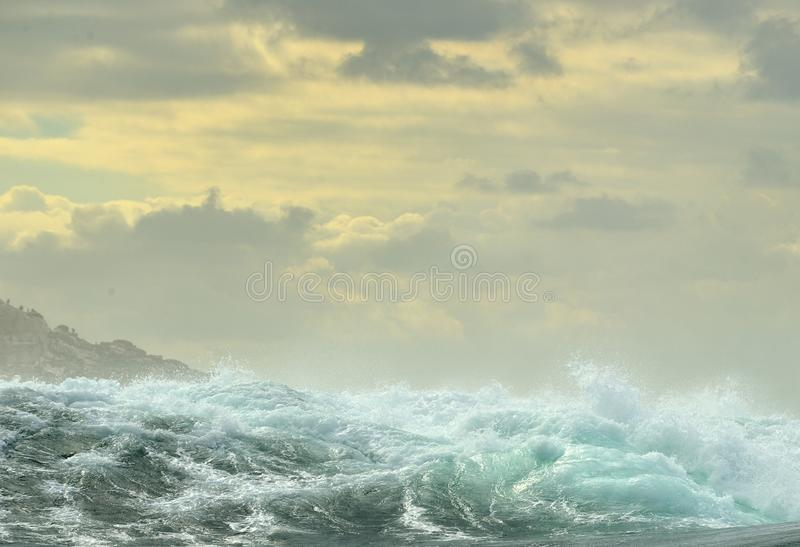Powerful ocean waves breaking. Wave on the surface of the ocean. royalty free stock photos