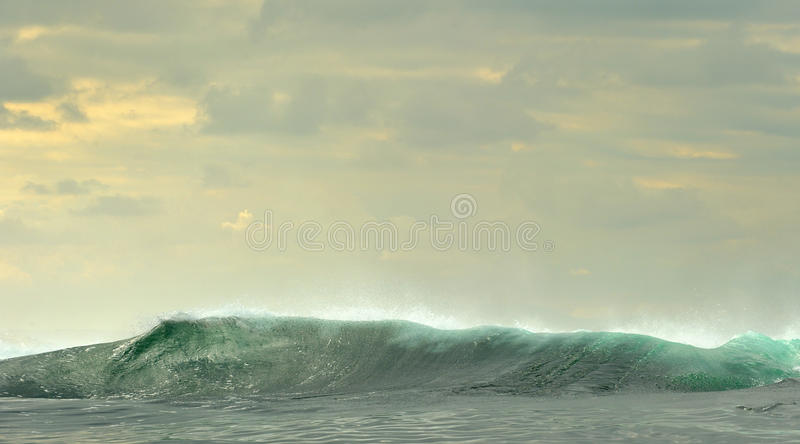 Powerful ocean waves breaking. Wave on the surface of the ocean. stock photo