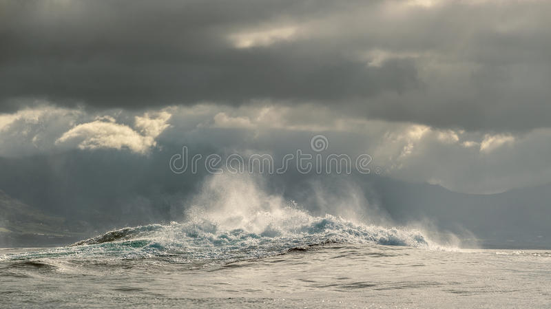 Powerful ocean waves breaking. Wave on the surface of the ocean. royalty free stock photography