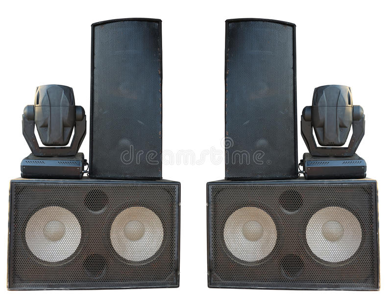Powerful stage concerto audio speakers and spotlight projectors royalty free stock photos