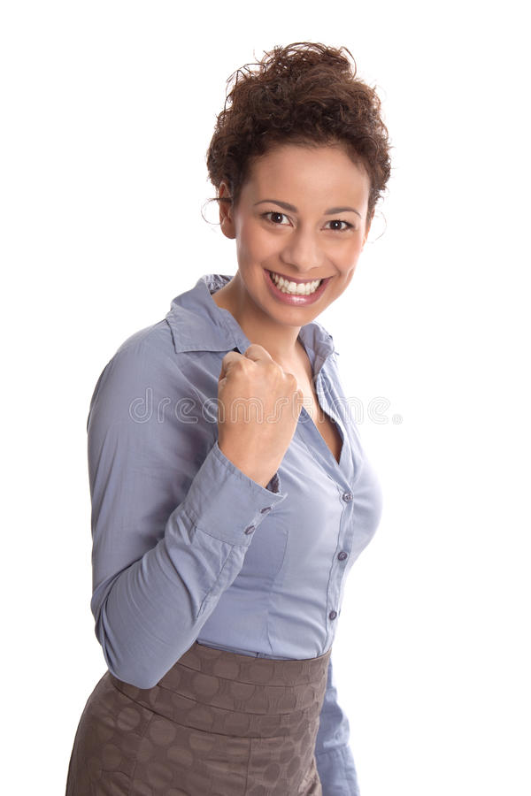 Powerful sucessful young business woman in a blue blouse and a s royalty free stock photography