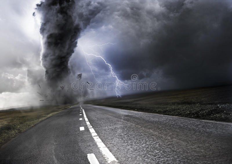 Powerful Tornado. Destroying property with lightning in the background